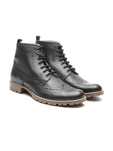 United Colors of Benetton Men Black Textured Leather High-Top Flat Boots United Colors of Benetton Casual Shoes at myntra