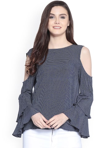 Gipsy Women Navy Blue Printed Top Gipsy Tops at myntra