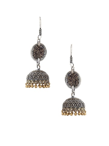 Rubans Silver-Toned & Gold-Toned Dome Shaped Jhumkas Rubans Earrings at myntra