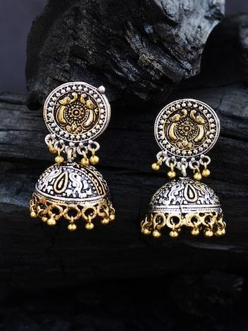 Rubans Gold-Toned & Silver-Toned Dome Shaped Jhumkas Rubans Earrings at myntra