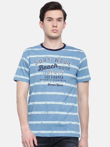 Lee Cooper Men Blue Striped Round Neck T-shirt Lee Cooper Tshirts at myntra