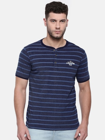 Lee Cooper Men Navy Striped Henley Neck T-shirt Lee Cooper Tshirts at myntra