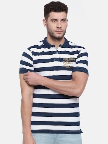 Lee Cooper Men Navy & White Striped Polo Collar T-shirt Lee Cooper Tshirts at myntra