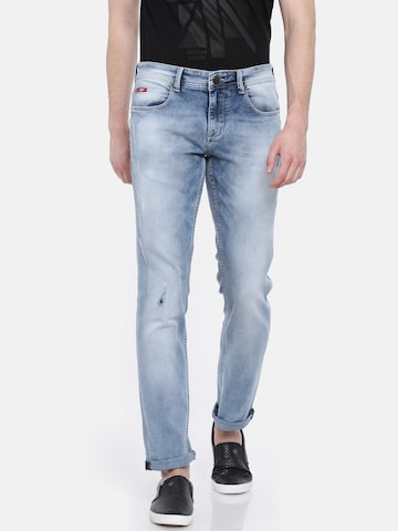 Lee Cooper Men Blue Slim Fit Mid-Rise Mildly Distressed Stretchable Jeans Lee Cooper Jeans at myntra