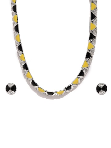 Estelle by Nitya Silver-Toned & Black Jewellery Set Estelle Jewellery Set at myntra