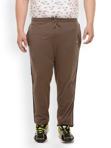plusS Brown Solid Track Pants plusS Track Pants at myntra
