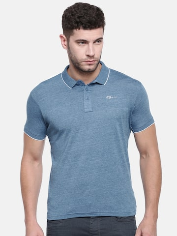 Pepe Jeans Men Blue Solid Polo Collar T-shirt Pepe Jeans Tshirts at myntra