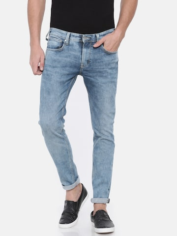 Pepe Jeans Men Blue Slim Fit Low-Rise Clean Look Stretchable Jeans Pepe Jeans Jeans at myntra