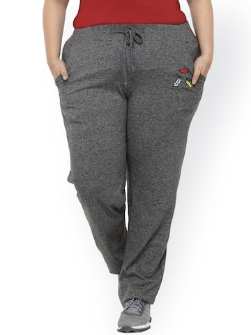 plusS Charcoal Grey Solid Track Pants plusS Track Pants at myntra