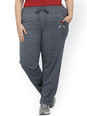 plusS Navy Blue Solid Track Pants plusS Track Pants at myntra
