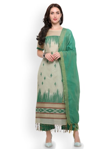 Inddus Beige & Green Cotton Blend Unstitched Dress Material Inddus Dress Material at myntra