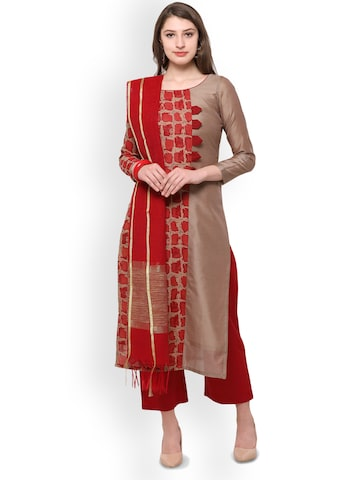 Inddus Red Cotton Blend Unstitched Dress Material Inddus Dress Material at myntra