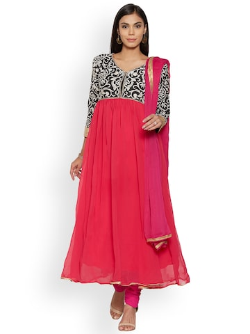 Florence Pink Poly Georgette Unstitched Dress Material Florence Dress Material at myntra