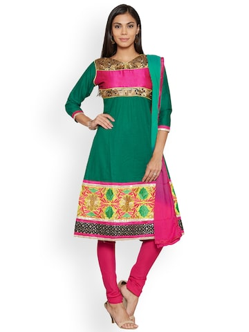 Florence Green & Pink Cotton Blend Unstitched Dress Material Florence Dress Material at myntra