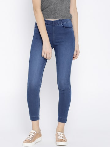 Xpose Blue Washed Cropped Jeggings Xpose Jeggings at myntra