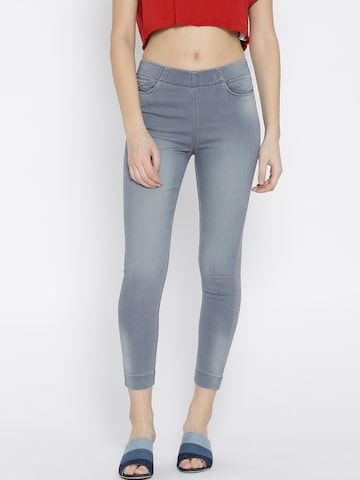 Xpose Grey Washed Cropped Jeggings Xpose Jeggings at myntra