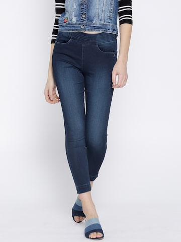 Xpose Women Navy Blue Cropped Jeggings Xpose Jeggings at myntra