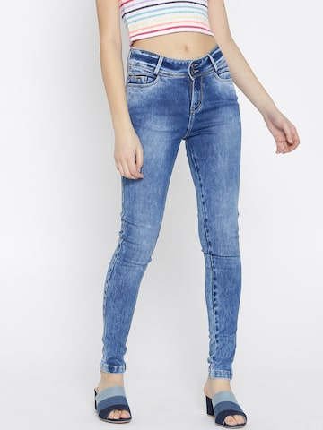 Xpose Women Blue Acid Washed Slim Fit Mid-Rise Clean Look Stretchable Jeans Xpose Jeans at myntra