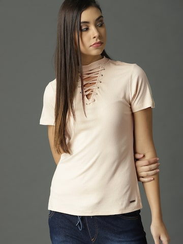 Roadster Women Peach-Coloured Self-Striped Top Roadster Tops at myntra