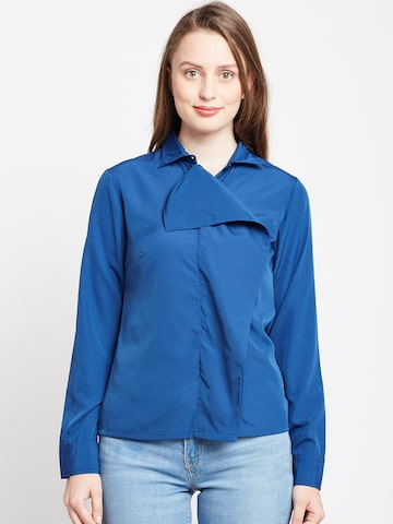Popnetic Women Blue Classic Regular Fit Solid Casual Shirt Popnetic Shirts at myntra