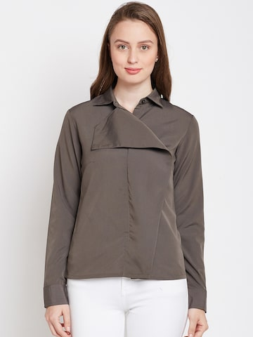 Popnetic Women Taupe Classic Regular Fit Solid Casual Shirt Popnetic Shirts at myntra