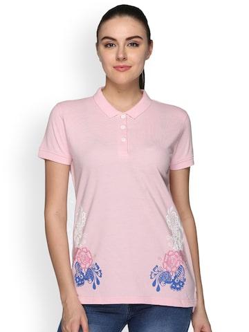 Club York Women Pink Printed Polo Collar T-shirt Club York Tshirts at myntra