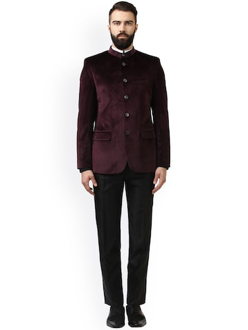 Raymond Men Maroon Single-Breasted Tailored Fit Formal Suit Raymond Suits at myntra