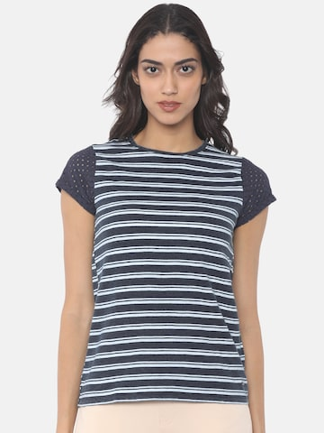 Pepe Jeans Women Navy Blue & White Striped Round Neck T-shirt Pepe Jeans Tshirts at myntra