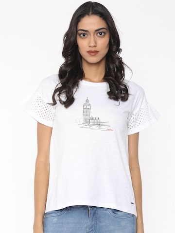 Pepe Jeans Women White Printed Round Neck T-shirt Pepe Jeans Tshirts at myntra