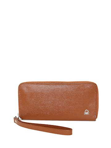 United Colors of Benetton Women Brown Solid Leather Zip-Around Wallet United Colors of Benetton Wallets at myntra