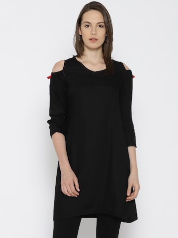 Global Desi Black Solid Cold-Shoulder Tunic Global Desi Tunics at myntra