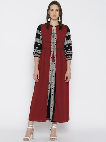 Global Desi Maroon Solid Open Front Shrug Global Desi Shrug at myntra