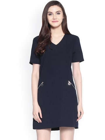Gipsy Women Navy Blue Solid A-Line Dress Gipsy Dresses at myntra
