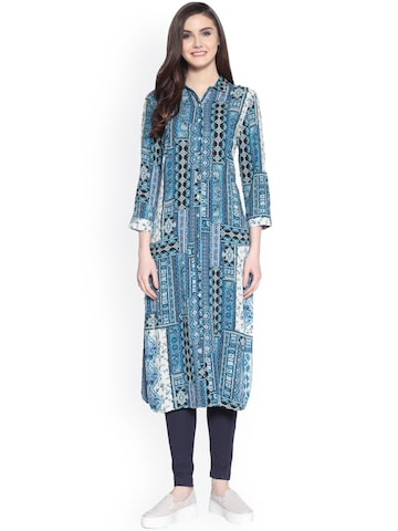 Gipsy Blue Printed Tunic Gipsy Tunics at myntra