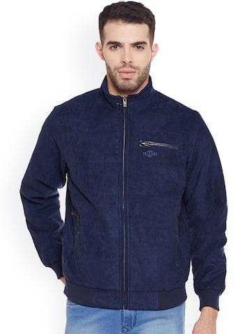 Duke Men Navy Blue Solid Open Front Jacket Duke Jackets at myntra
