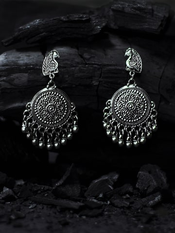 Rubans Silver-Toned Peacock Shaped Chandbalis Rubans Earrings at myntra