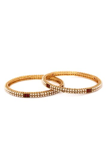 Rubans Set of 2 Gold Plated And Red Bangle Rubans Bangle at myntra