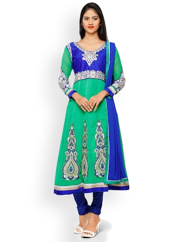 Florence Green & Blue Poly Georgette Embroidered Unstitched Dress Material Florence Dress Material at myntra
