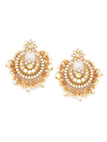 Sia Art Jewellery Gold-Toned & White Contemporary Chandbalis Sia Art Jewellery Earrings at myntra