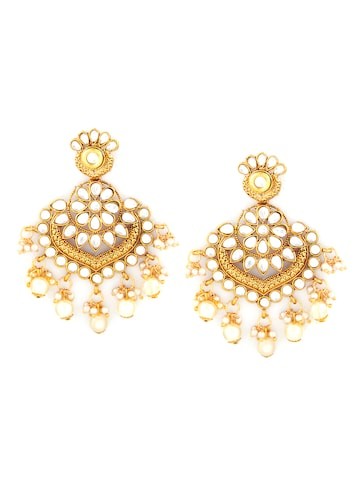 Sia Art Jewellery Gold-Toned & White Contemporary Chandbalis Sia Art Jewellery Earrings at myntra