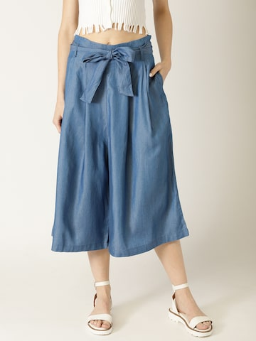 United Colors of Benetton Women Blue Regular Fit Solid Chambray Culottes United Colors of Benetton Trousers at myntra