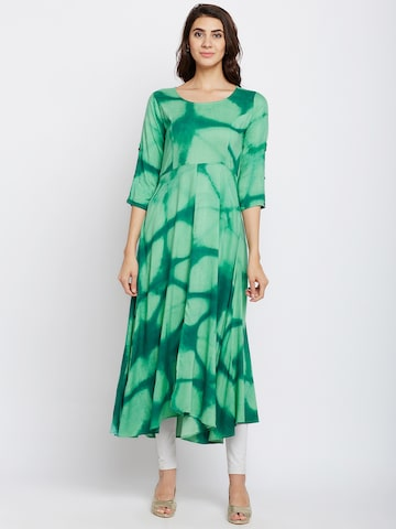 Span Women Green Printed Anarkali Kurta Span Kurtas at myntra
