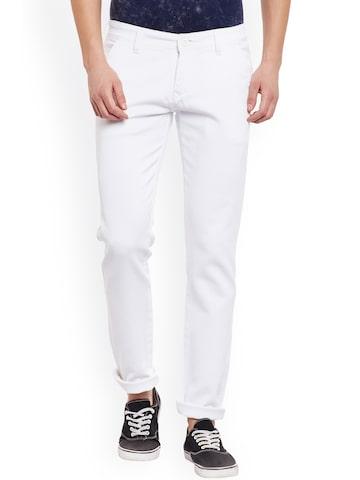 Rodamo Men White Smart Slim Fit Solid Regular Trousers Rodamo Trousers at myntra