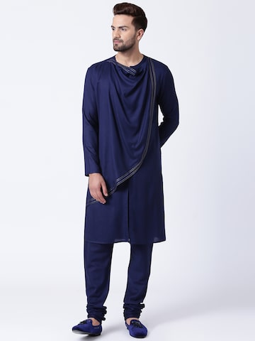 I Know Men Navy Blue Solid Straight Kurta I Know Kurtas at myntra