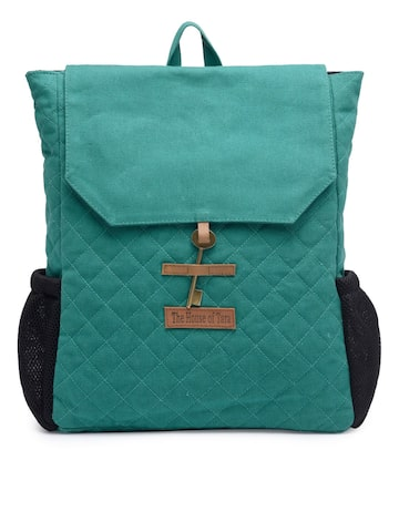 The House of Tara Women Teal Solid Backpack The House of Tara Backpacks at myntra