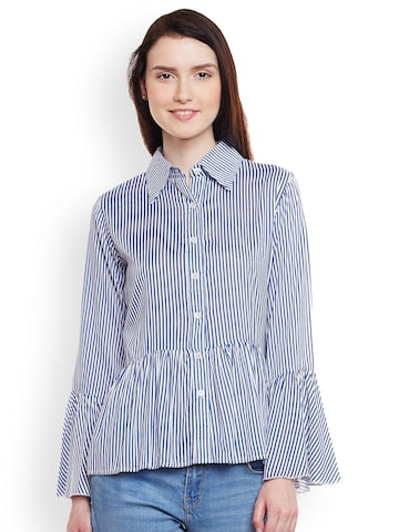Meee Women Navy Blue & White Regular Fit Striped Casual Shirt Meee Shirts at myntra