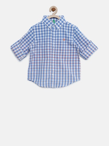 United Colors of Benetton Boys Blue & White Checked Casual Shirt United Colors of Benetton Shirts at myntra