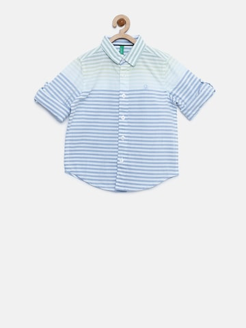 United Colors of Benetton Boys Blue & White Striped Casual Shirt United Colors of Benetton Shirts at myntra