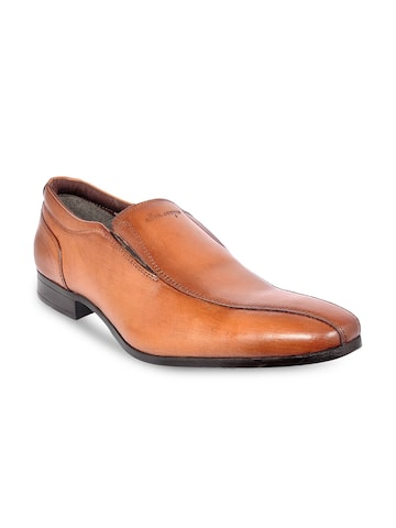 Allen Cooper Men Tan Semi-Formal Leather Slip-Ons Allen Cooper Formal Shoes at myntra