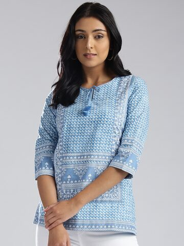 W Women Blue Printed Top W Tops at myntra
